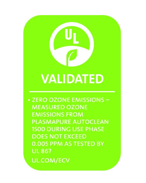 UL2998 PlasmaPURE AutoClean PlasmaPURE AC1500
